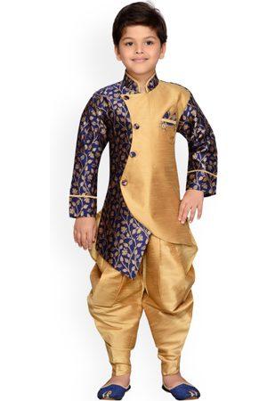 AJ DEZINES Boys Blue & Gold-Toned Woven Design Sherwani Set