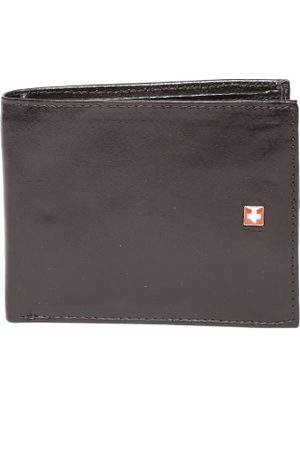 Swiss Military Men Brown Glossy Genuine Leather Wallet