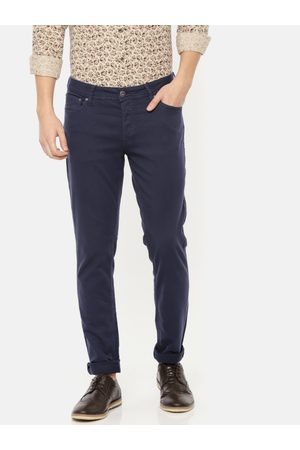 Jack & Jones Men Chinos - Men Navy Blue Slim Fit Solid Chinos