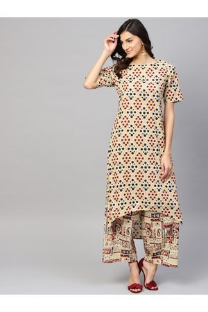Nayo Women Beige & Navy Printed Kurta with Palazzos