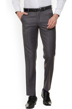 Louis Philippe Men Grey Regular Fit Solid Formal Trousers