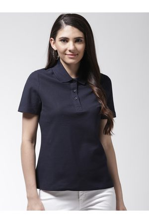 Marks & Spencer Women Navy Blue Solid Polo Collar T-shirt