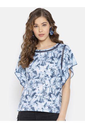Pepe Jeans Women Blue Printed Top