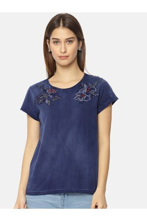 Pepe Jeans Women Navy Blue Embroidered Round Neck T-shirt