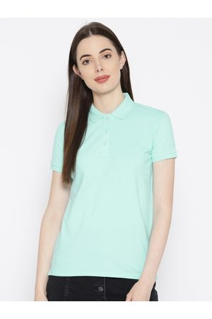 Pepe Jeans Women Sea Green Solid Polo Collar T-shirt