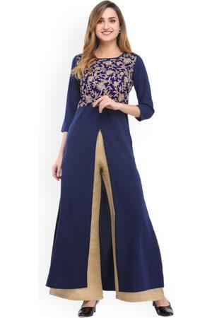 Cottinfab Women Blue & Beige Self Design Kurta with Palazzos
