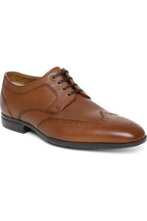 Ruosh Men Tan Brown CAMEROON Textured Leather Formal Brogues