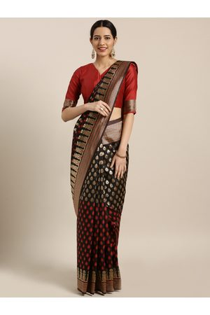 Aarrah Women Black & Red Pure Silk Woven Design Banarasi Saree