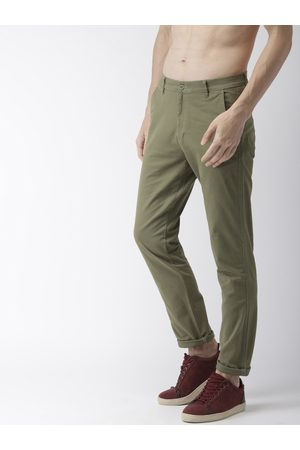 Highlander Men Green Slim Fit Solid Regular Trousers
