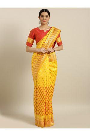 Aarrah Women Mustard Yellow & Red Pure Silk Woven Design Banarasi Saree