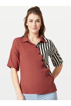 Miss Chase Women Maroon Striped Shirt Style Top