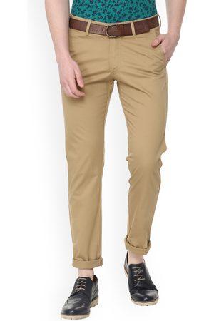Allen Solly Men Slim Trousers - Men Brown Slim Fit Solid Regular Trousers