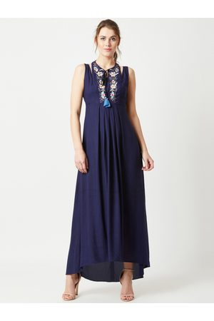 Miss Chase Women Navy Blue Embroidered Maxi Dress