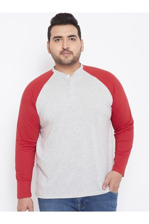 Bigbanana Plus Size Men Grey Red Solid Henley Neck T-shirt