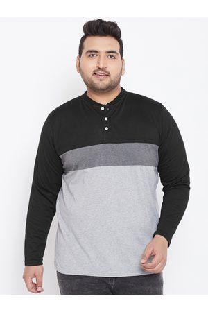 bigbanana Plus Size Men Grey Black Colourblocked Henley Neck T-shirt