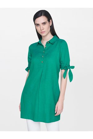 AND Women Green Solid Tunic