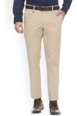 Van Heusen Men Beige Slim Fit Self Design Formal Trousers