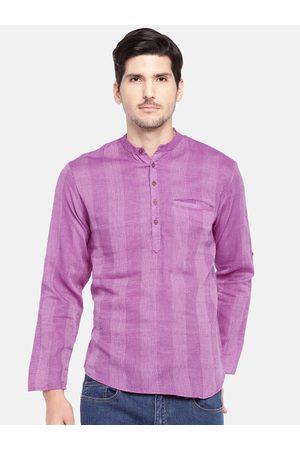 SALWAR STUDIO Men Purple Woven Design Straight Kurta