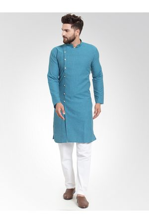 Jompers Men Green Self Design Kurta with Salwar
