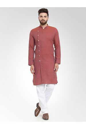 Jompers Men Red Self Design Kurta with Salwar