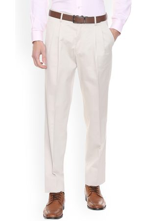 Louis Philippe Men Formal Trousers - Men Cream-Coloured Regular Fit Solid Formal Trousers