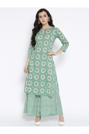 Sringam Women Sea Green & White Printed Kurta with Palazzos