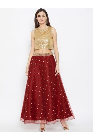 studio rasa Women Gold-Colored & Maroon Net Sequins Embroidered Lehenga Set