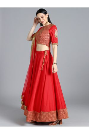 Bollywood Vogue Women Red Embellished Made to Measure Lehenga & Blouse With Dupatta