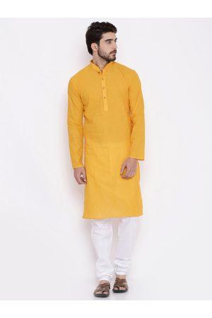 RG DESIGNERS Men Yellow & White Solid Kurta with Pyjamas