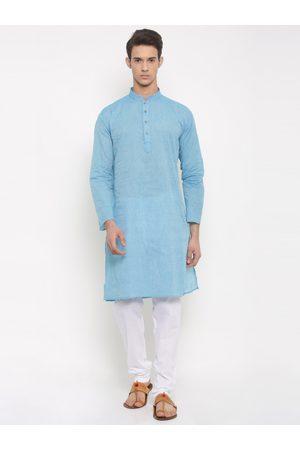 RG DESIGNERS Men Blue & White Solid Kurta with Pyjamas