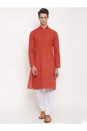 RG DESIGNERS Men Rust & White Solid Kurta with Pyjamas