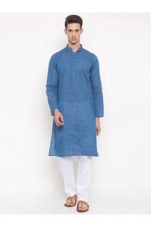 RG DESIGNERS Men Blue & White Self-Design Kurta with Pyjamas