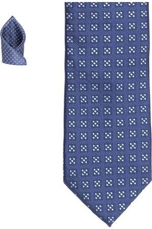 Lino Perros Men Neckties - Men Blue Patterned Accessory Gift Set