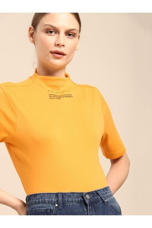 Ether Women Yellow Solid High Neck T-shirt