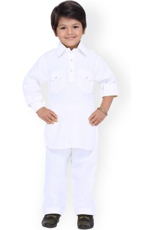 AJ DEZINES Boys White Solid Kurta with Salwar