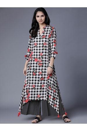 Vishudh Women Black & White Printed Kurta with Palazzos