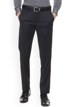 Louis Philippe Men Black Regular Fit Solid Formal Trousers