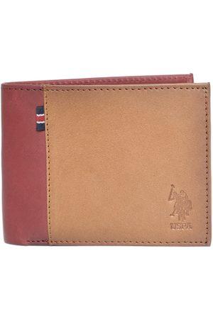 Ralph Lauren Men Brown & Maroon Leather Colourblocked Two Fold Wallet