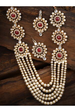 Zaveri Pearls Gold-Toned & White Kundan & Pearls Jewellery Set