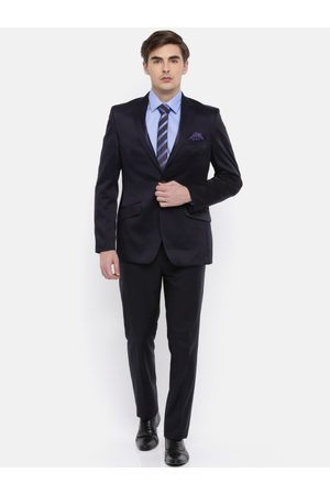 Raymond Weil Men Navy Blue Self-Design Contemporary Fit Single-Breasted Formal Suit