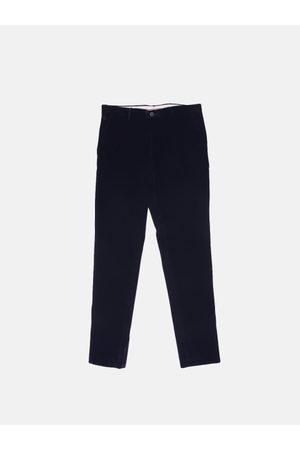 Benetton Men Navy Blue Slim Fit Solid Regular Velvet Trousers