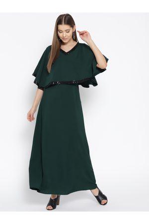 Cottinfab Women Green Solid Layered Maxi Dress
