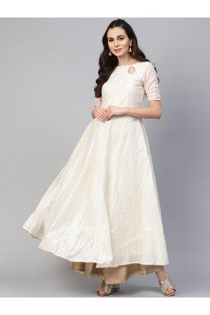 Inddus Women Off-White & Golden Checked Anarkali Kurta