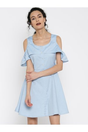 Miss Chase Women Blue Solid Fit and Flare Dress