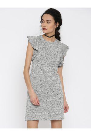 Miss Chase Women Grey Self-Design A-Line Dress