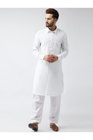 SOJANYA Men White Solid Kurta with Salwar