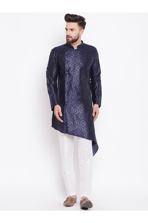 See Designs Men Navy Blue & White Printed Silk Kurta with Trousers
