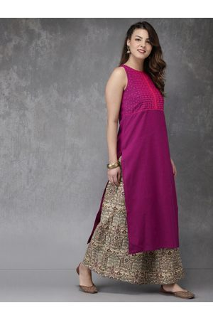 Anouk Women Magenta & Beige Yoke Design Kurta with Palazzos