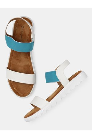 Mast & Harbour Women White & Blue Colourblocked Open Toe Flats