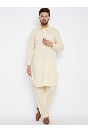 SOJANYA Men Cream-Coloured Solid Pathani Kurta with Salwar